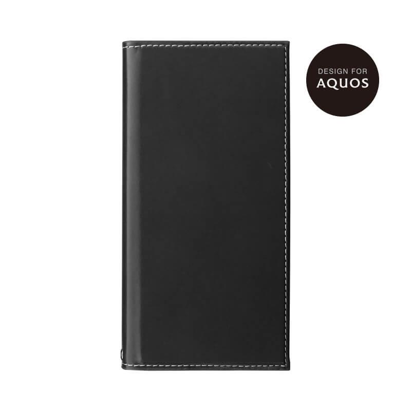 AQUOS R2 SH-03K/SHV42/SoftBank 薄型PUレザーフラップケース「PRIME」 ブラック