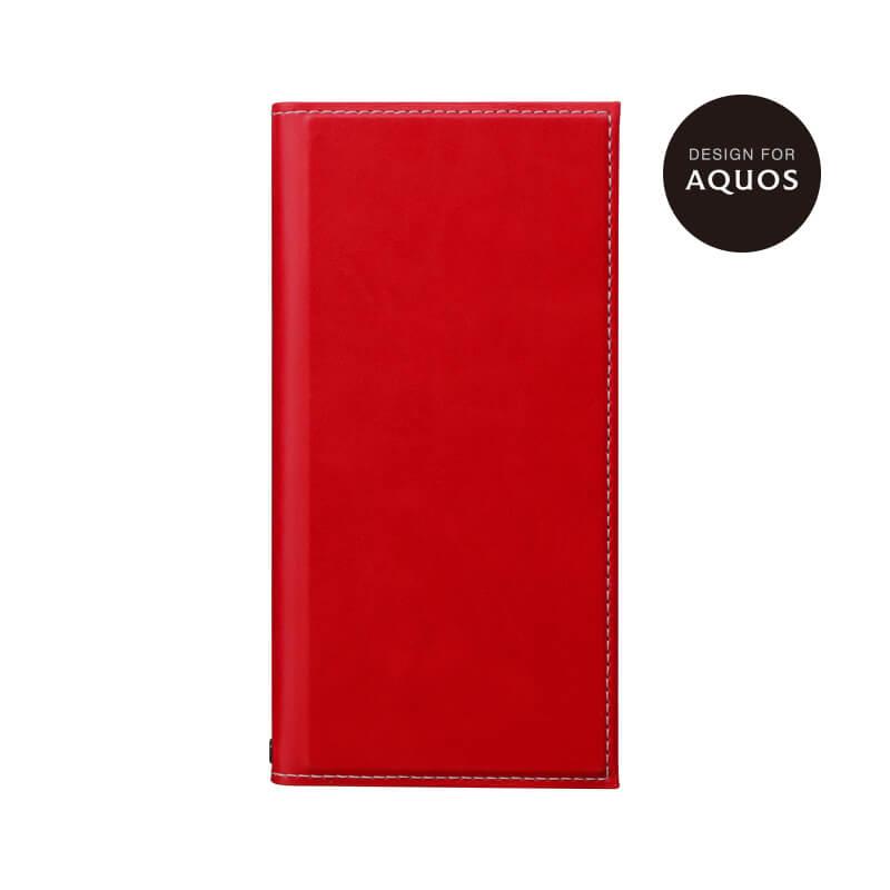 AQUOS R2 SH-03K/SHV42/SoftBank 薄型PUレザーフラップケース「PRIME」 レッド
