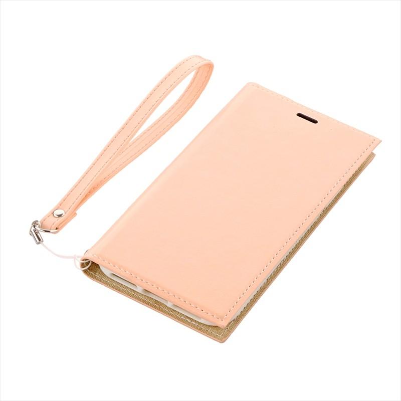◇iPhone XS/iPhone X 薄型PUレザーフラップケース「PRIME」 ピンクベージュ