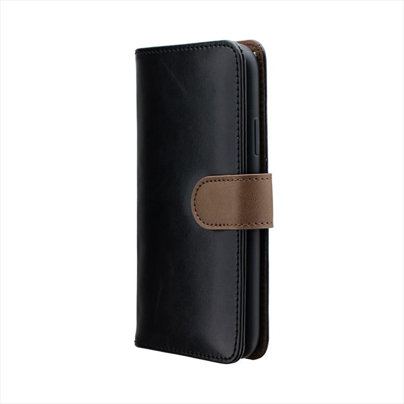 iPhone XS/iPhone X PUレザーベルト回転ブックケース「BOOK SPIN」 ブラック