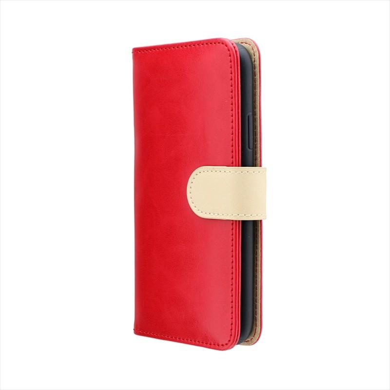 iPhone XS/iPhone X PUレザーベルト回転ブックケース「BOOK SPIN」 レッド