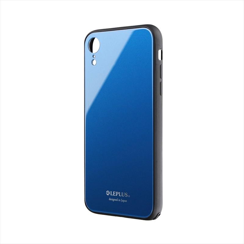 ◇iPhone XR 背面ガラスシェルケース「SHELL GLASS」 ブルー