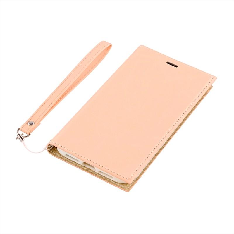 ◇iPhone XR 薄型PUレザーフラップケース「PRIME」 ピンクベージュ