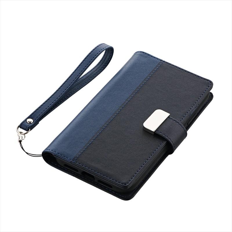 ◇iPhone XR 上質PUレザーブックケース「PREMIER」 ネイビー
