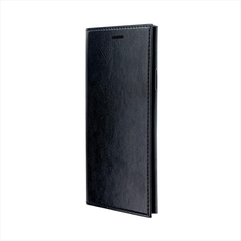 ◇iPhone XR 極薄一枚革フラップケース「PAGE」 ブラック