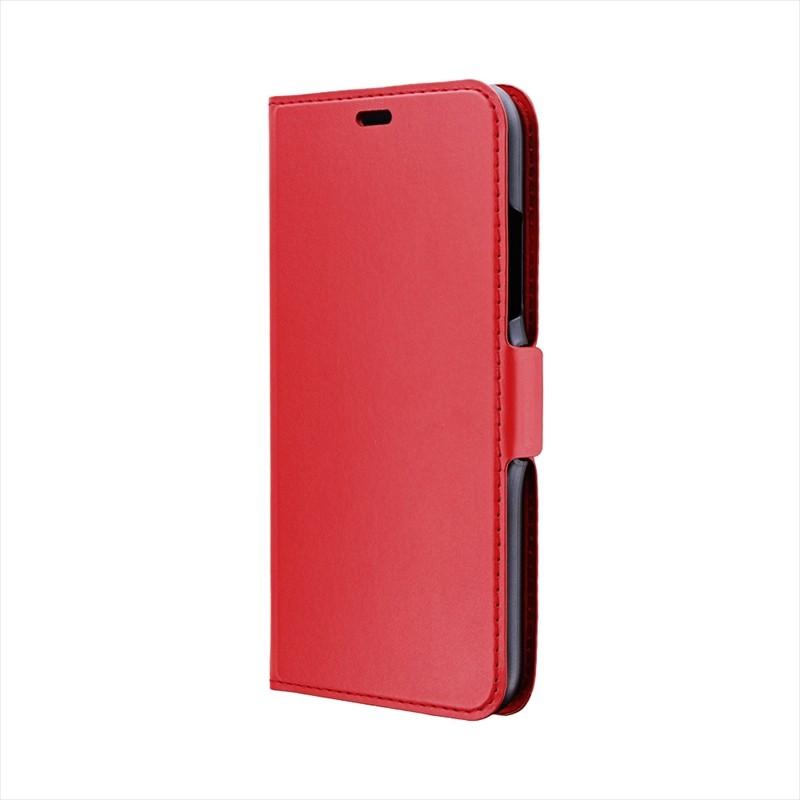 ◇iPhone XR 薄型PUレザーフラップケース「FILE」 レッド