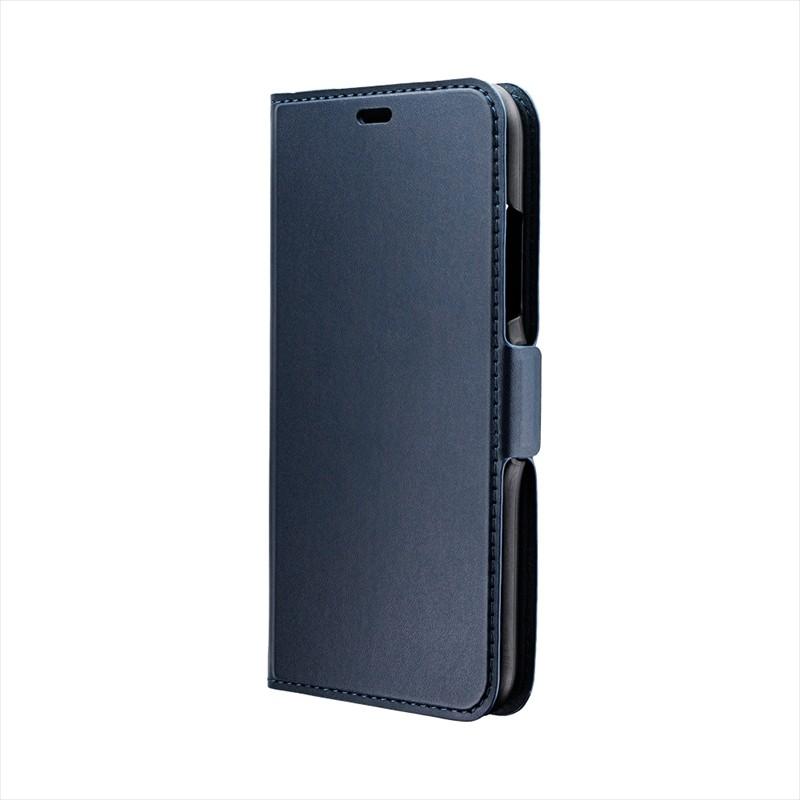 ◇iPhone XR 薄型PUレザーフラップケース「FILE」 ネイビー