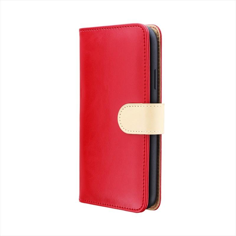 iPhone XR PUレザーベルト回転ブックケース「BOOK SPIN」 レッド