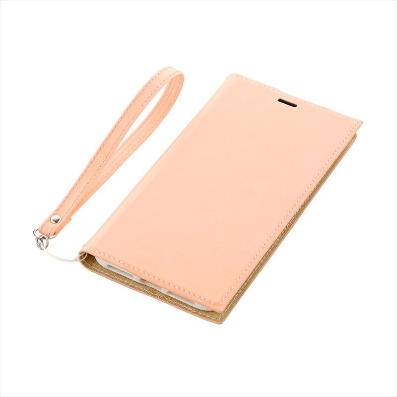 ◇iPhone XS Max 薄型PUレザーフラップケース「PRIME」 ピンクベージュ