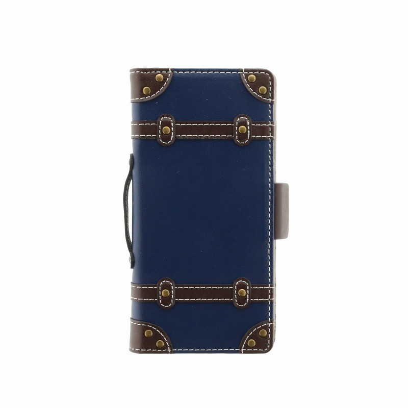 □iPhone XS/iPhone X 【+U】Paige/トロリーバッグ風手帳型ケース/ネイビー