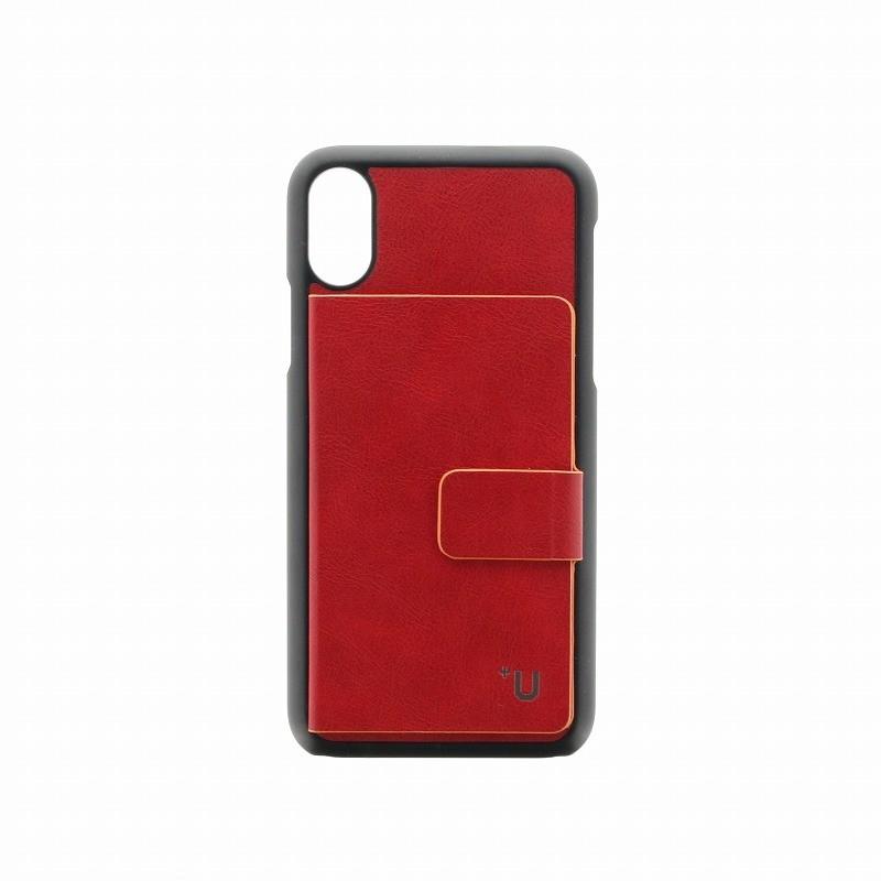 □iPhone XS/iPhone X 【+U】Smith/カード収納ポケット付PUケース/レッド