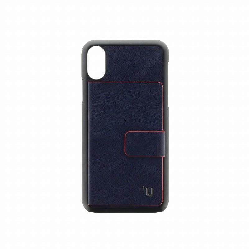 □iPhone XS/iPhone X 【+U】Smith/カード収納ポケット付PUケース/ブルー