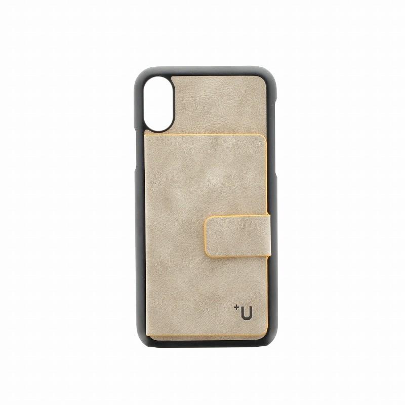 □iPhone XS/iPhone X 【+U】Smith/カード収納ポケット付PUケース/グレー