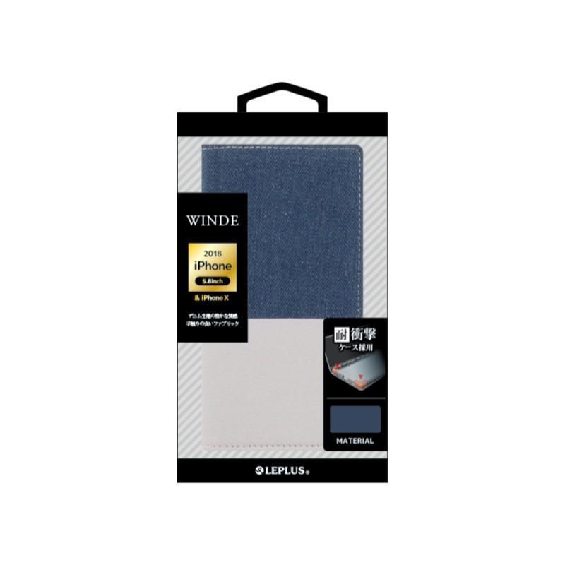 □iPhone XS/iPhone X  デニムフラップケース「WINDE」 インディゴ&ホワイト
