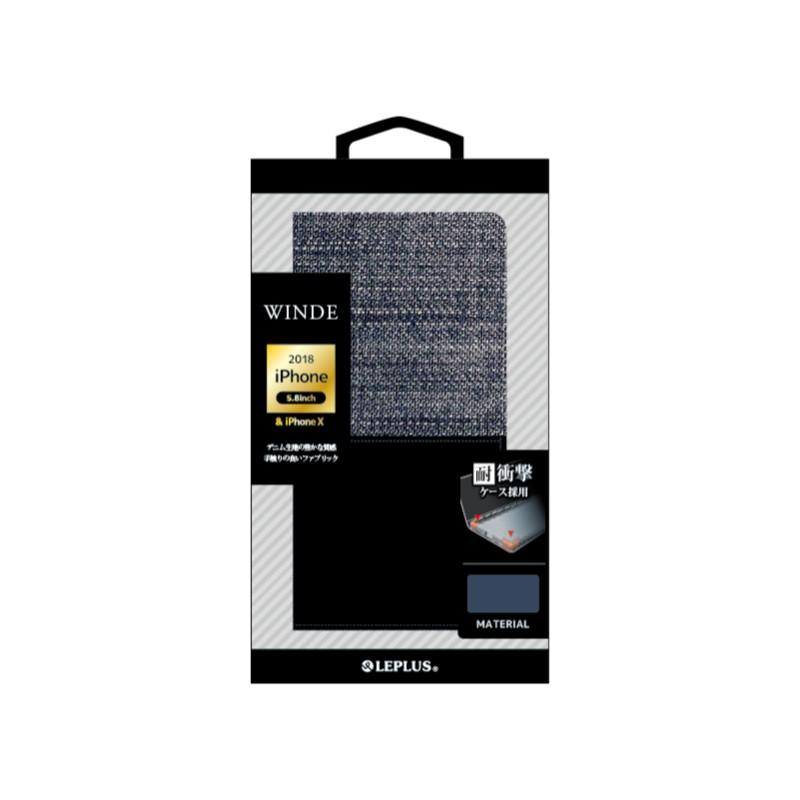□iPhone XS/iPhone X  デニムフラップケース「WINDE」 インディゴ&ブラック