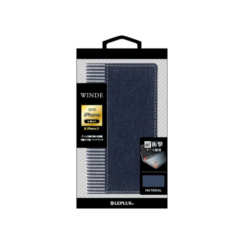 □iPhone XS/iPhone X  デニムフラップケース「WINDE」 インディゴ&ストライプ