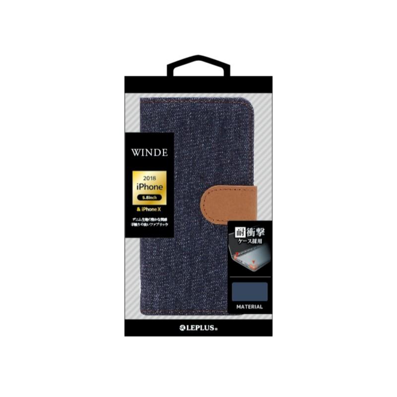 □iPhone XS/iPhone X  デニムブックケース「WINDE」 インディゴA