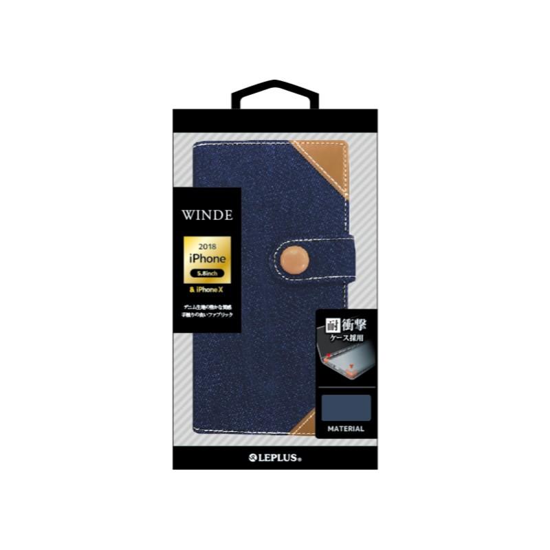 □iPhone XS/iPhone X  デニムブックケース「WINDE」 インディゴB