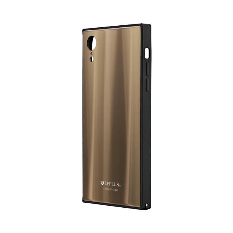 iPhone XR 背面ガラスシェルケース「SHELL GLASS SQUARE」 ゴールド