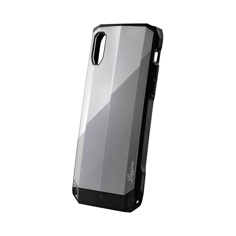 iPhone XR 耐衝撃ハイブリッドケース「LEGGERA」 プラチナグレー