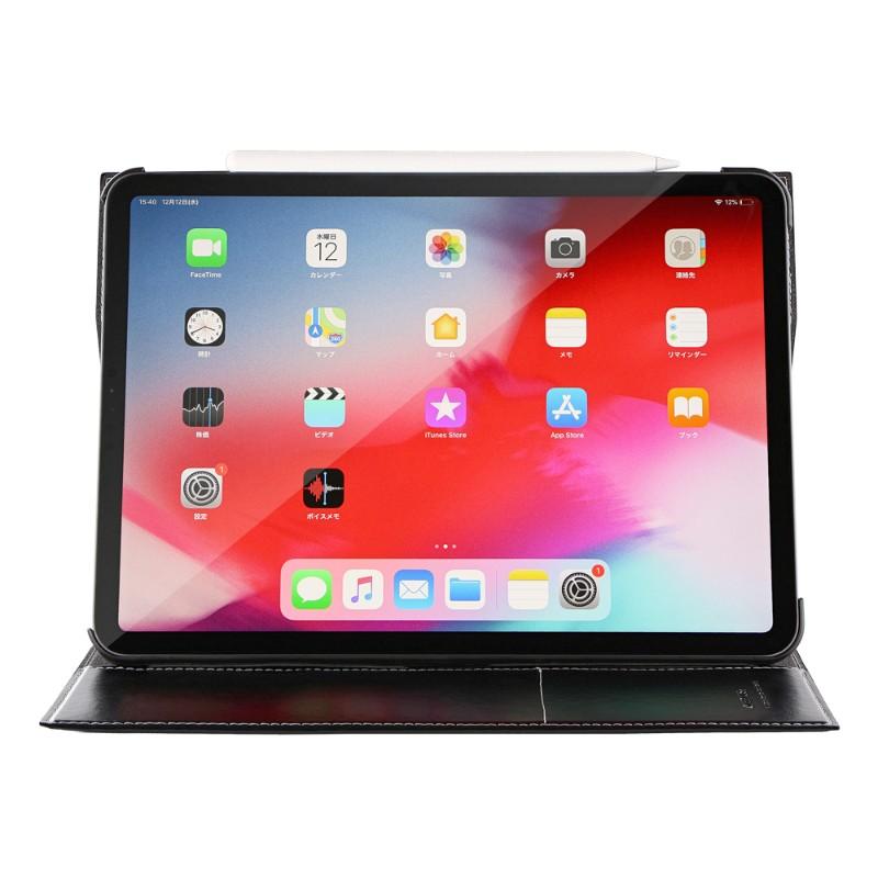 iPad Pro 2018 11inch 薄型PUレザーケース 「Pencil Charge」 ブラック