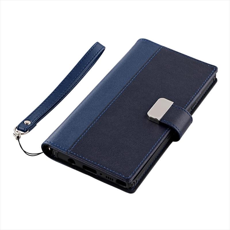 Galaxy Note9 SC-01L/SCV40 上質PUレザーブックケース「PREMIER」 ネイビー