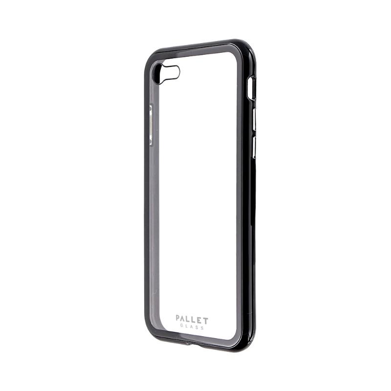 iPhone 8/7 ガラスハイブリッドケース「PALLET GLASS」 クリアブラック