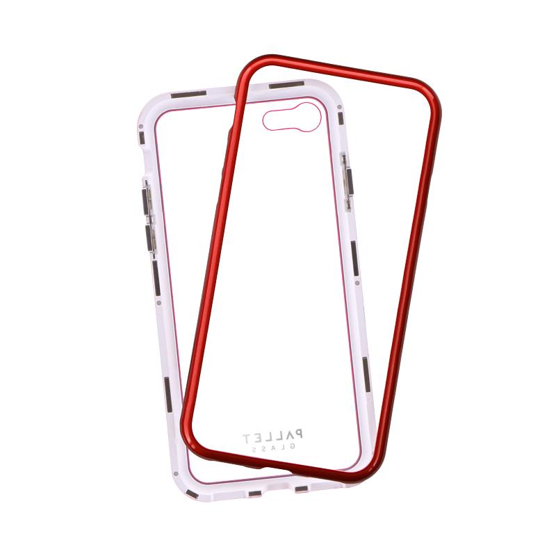 iPhone 8/7 ガラスハイブリッドケース「PALLET GLASS」 クリアレッド