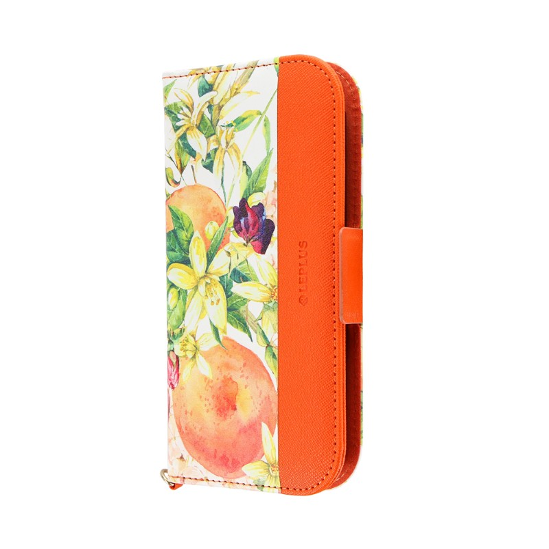 らくらくスマートフォン me F-01L フルーツ柄PUレザーフラップケース「FRUIT FLAP」 オレンジ