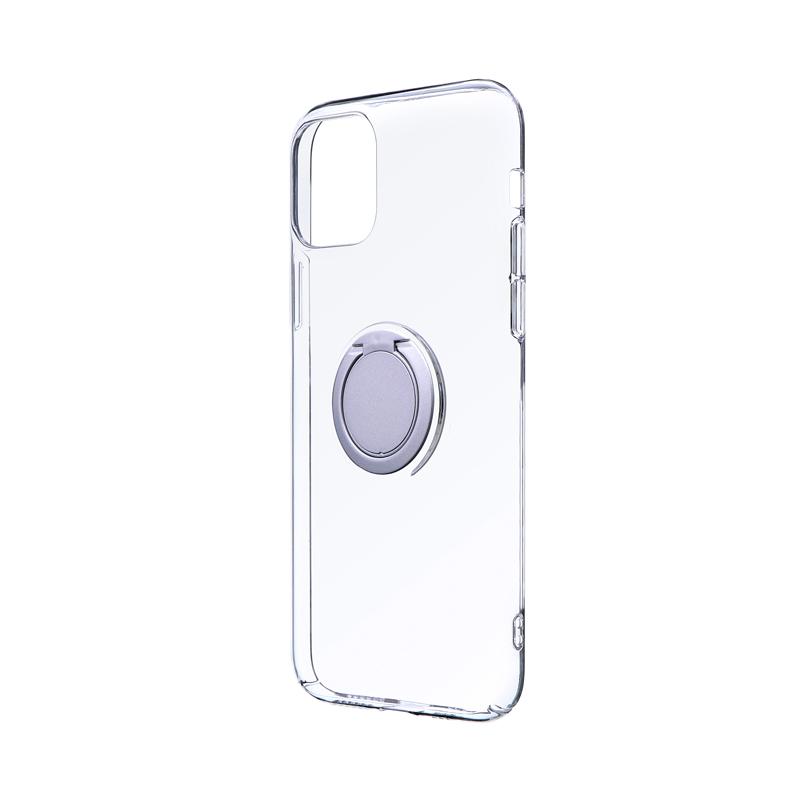 iPhone 11 Pro 極薄リング付ハードケース「CLEAR RING」 シルバー