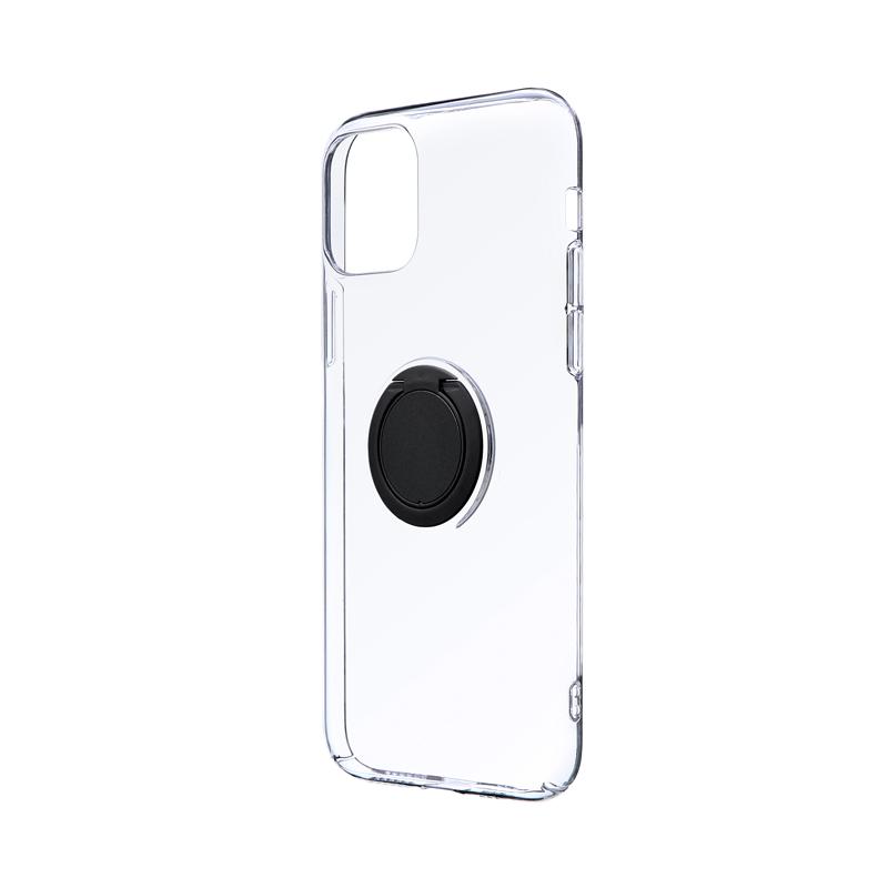 iPhone 11 Pro 極薄リング付ハードケース「CLEAR RING」 ブラック