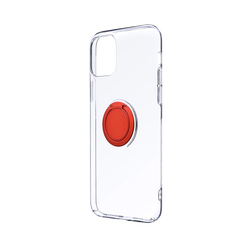 iPhone 11 Pro 極薄リング付ハードケース「CLEAR RING」 レッド