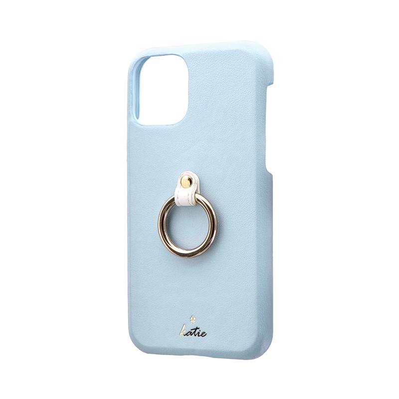 iPhone 11 Pro リング付PUレザーシェルケース「SHELL RING Katie」 ブルー