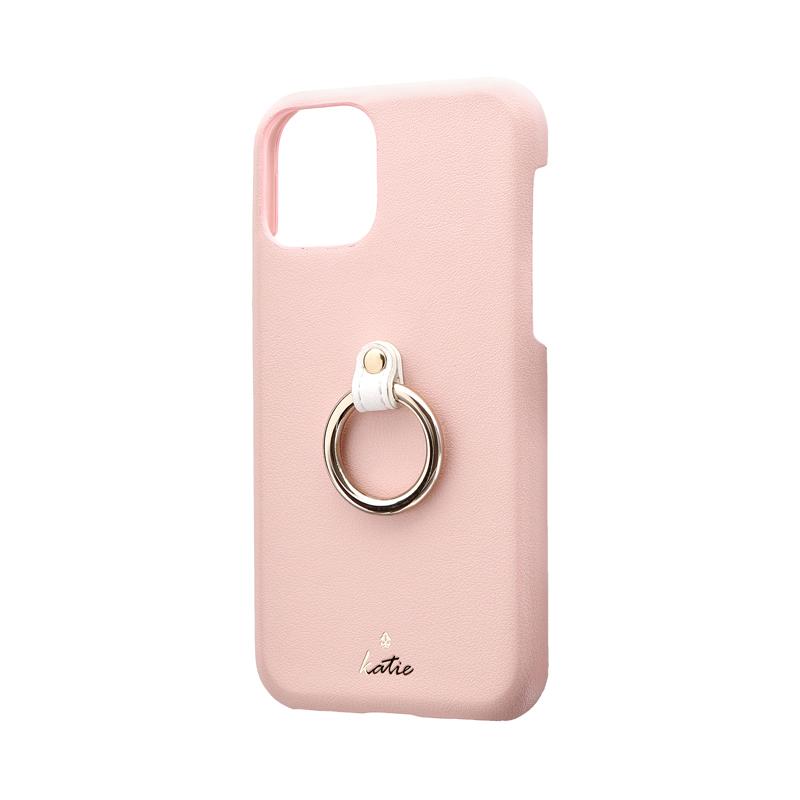 iPhone 11 Pro リング付PUレザーシェルケース「SHELL RING Katie」 ピンク