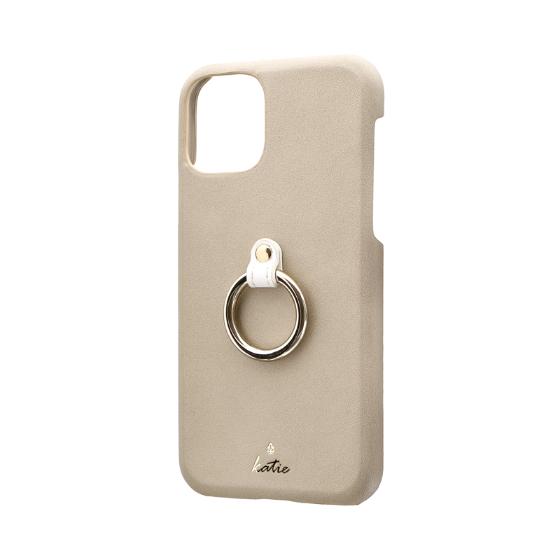 iPhone 11 Pro リング付PUレザーシェルケース「SHELL RING Katie」 ベージュ