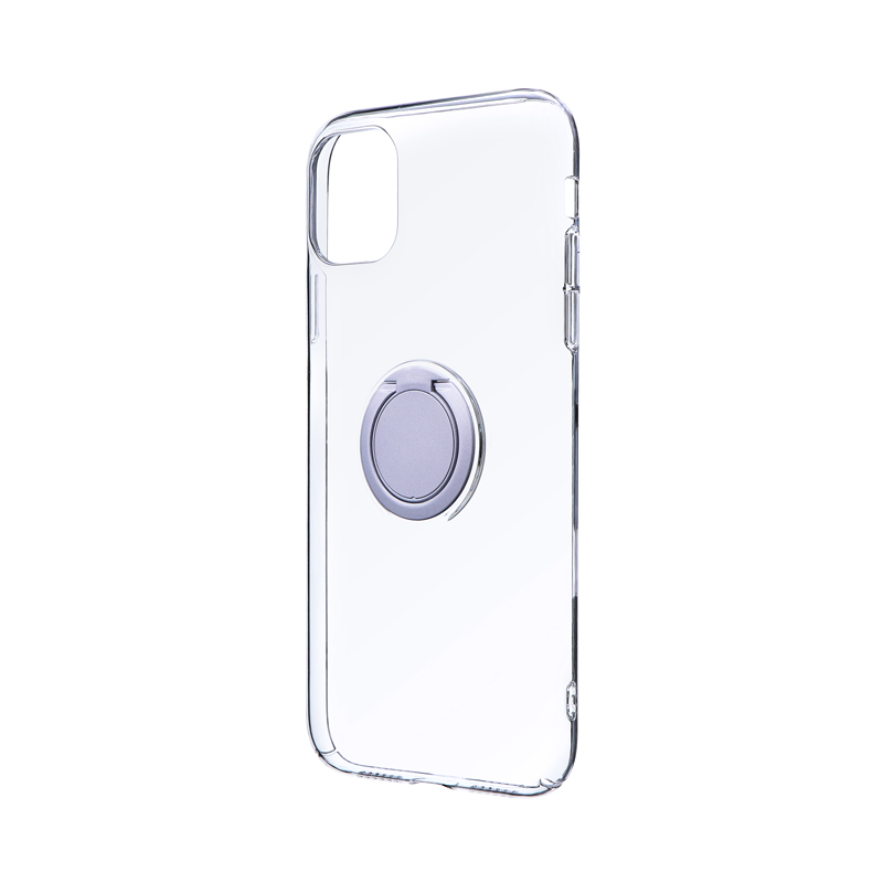 iPhone 11 極薄リング付ハードケース「CLEAR RING」 シルバー