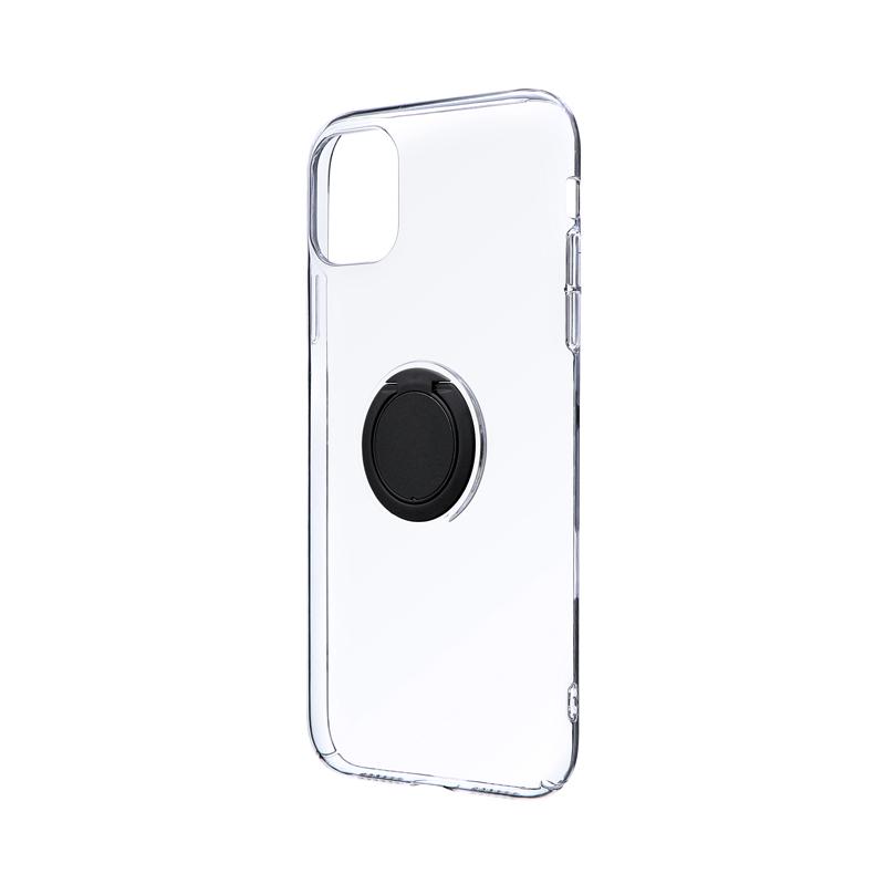 iPhone 11 極薄リング付ハードケース「CLEAR RING」 ブラック