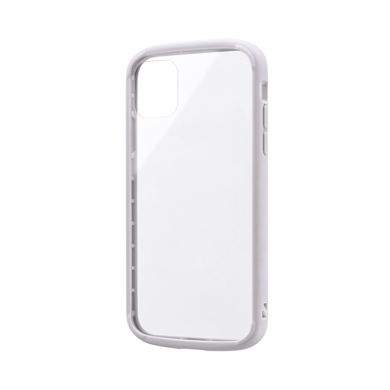 iPhone 11 耐衝撃ガラスハイブリッドケース「PALLET GLASS」 ライトグレー