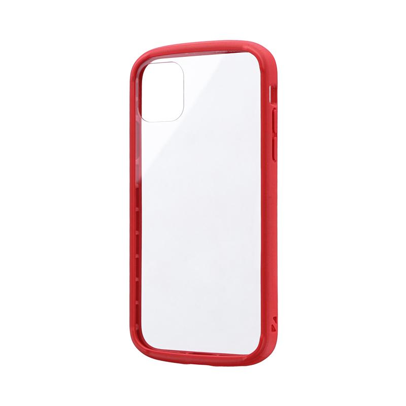 iPhone 11 耐衝撃ガラスハイブリッドケース「PALLET GLASS」 レッド
