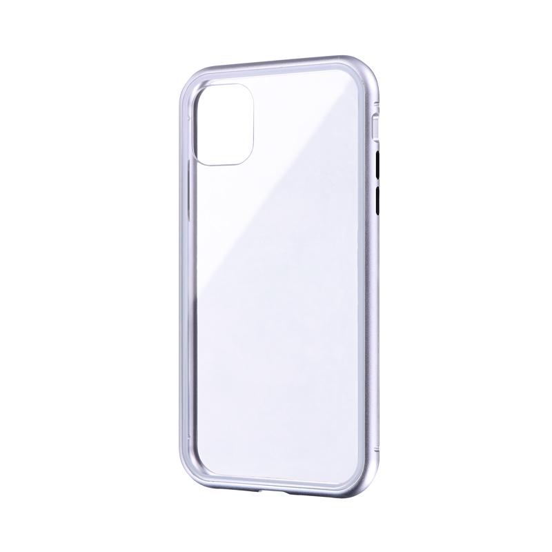 iPhone 11 ガラス&アルミケース「SHELL GLASS Aluminum」 シルバー