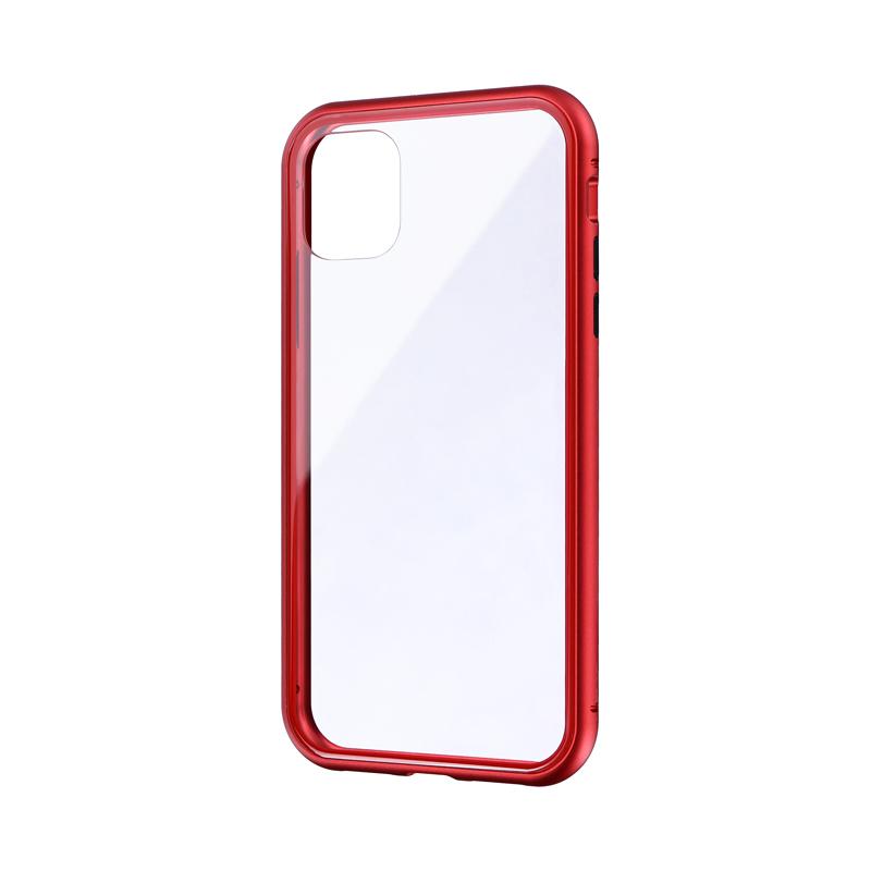 iPhone 11 ガラス&アルミケース「SHELL GLASS Aluminum」 レッド