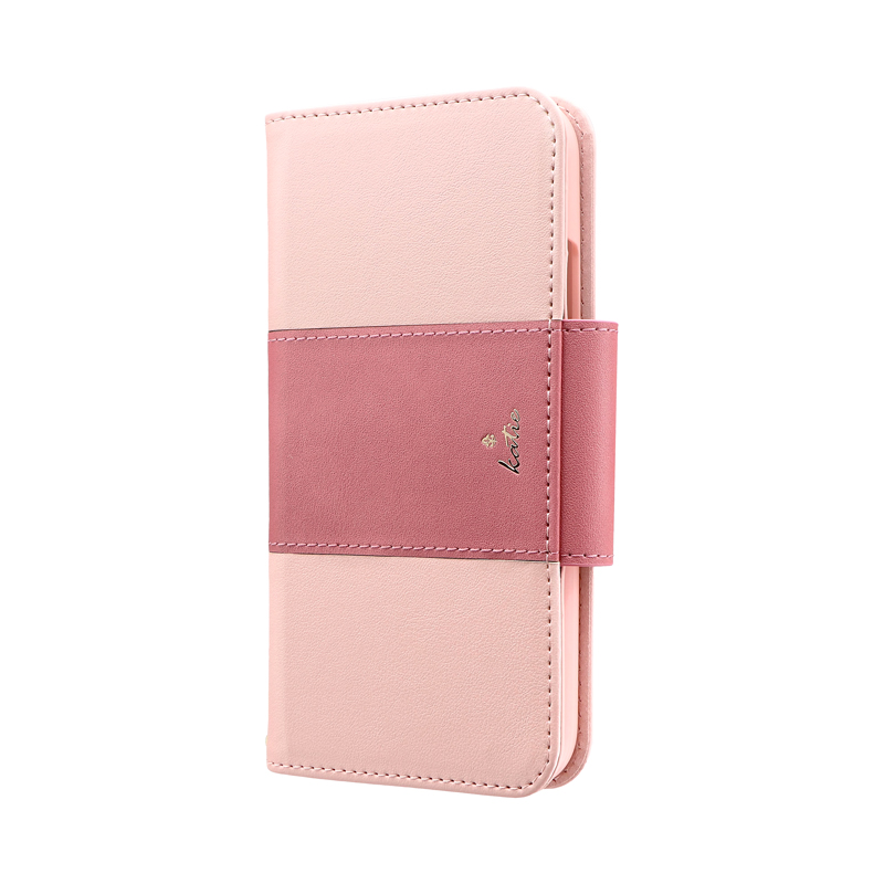 iPhone 11 上質PUレザーブックケース「PREMIER Katie」 ピンク