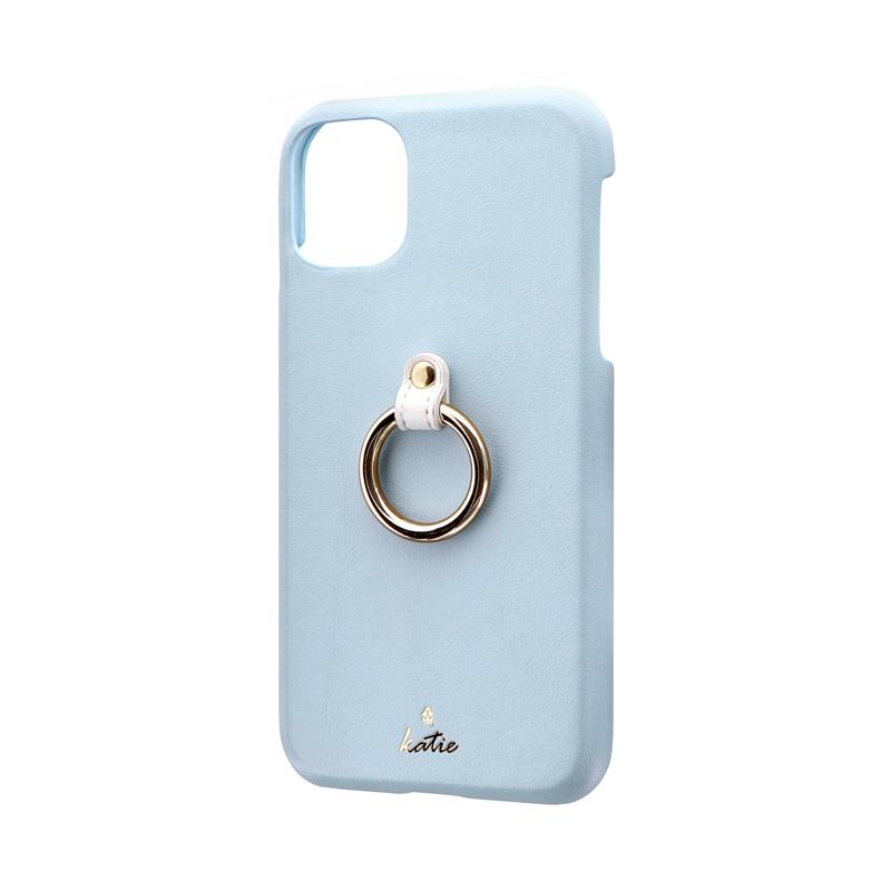 iPhone 11 リング付PUレザーシェルケース「SHELL RING Katie」 ブルー