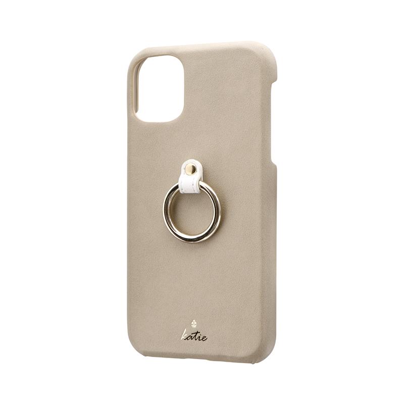 iPhone 11 リング付PUレザーシェルケース「SHELL RING Katie」 ベージュ