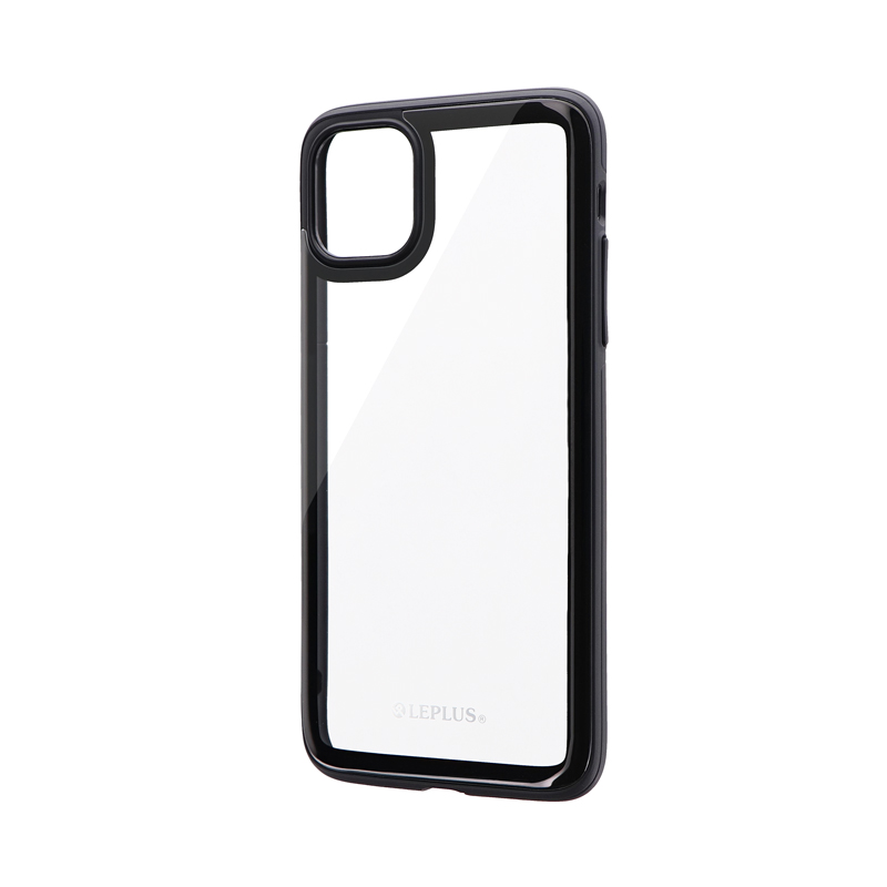 iPhone 11 Pro Max 背面3Dガラスシェルケース「SHELL GLASS Round」 ブラック
