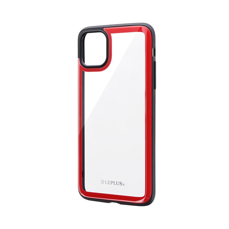 iPhone 11 Pro Max 背面3Dガラスシェルケース「SHELL GLASS Round」 レッド