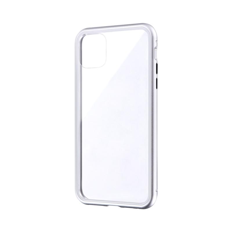 iPhone 11 Pro Max ガラス&アルミケース「SHELL GLASS Aluminum」 シルバー
