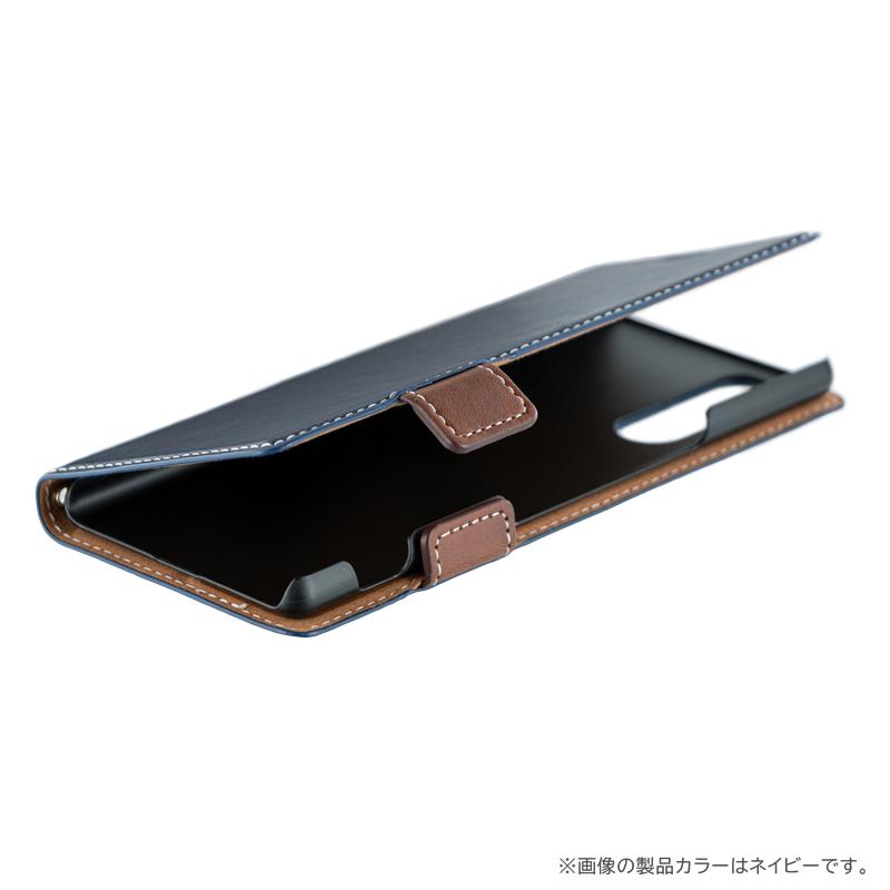 Xperia 5 SO-01M/SOV41 薄型軽量PUレザーフラップケース「PIECE」 ネイビー