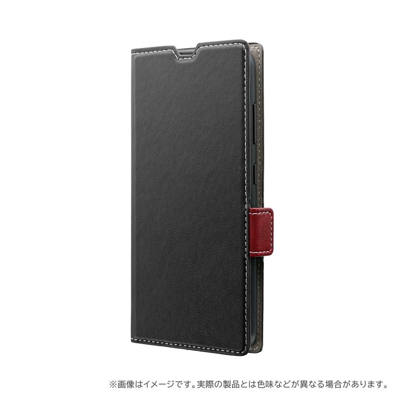 Galaxy A20 SC-02M/SCV46 薄型軽量PUレザーフラップケース「PIECE」 ブラック