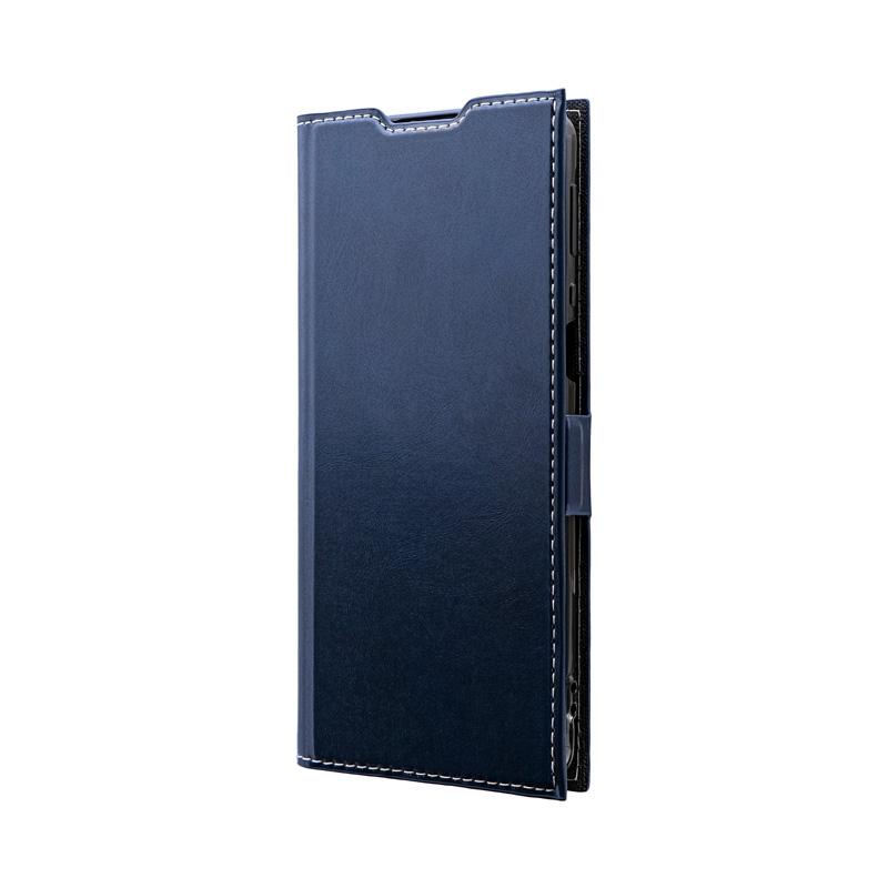 AQUOS zero5G basic/zero5G basic DX SHG02 薄型PUレザーフラップケース「PRIME」 ネイビー